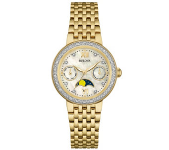 Bulova Goldtone Diamond-Accent Moon Phase Women's Watch - J343131