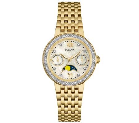 Bulova Goldtone Diamond-Accent Moon Phase Women's Watch