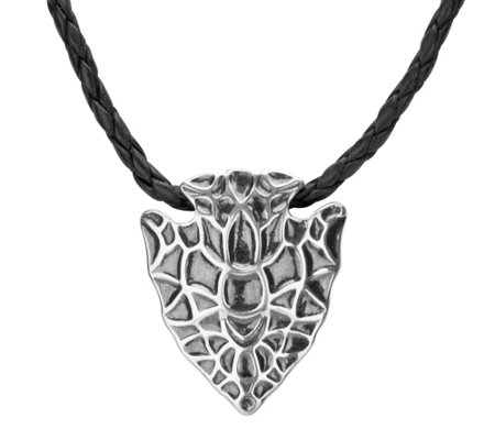 Sterling & Leather Arrowhead Necklace by American West