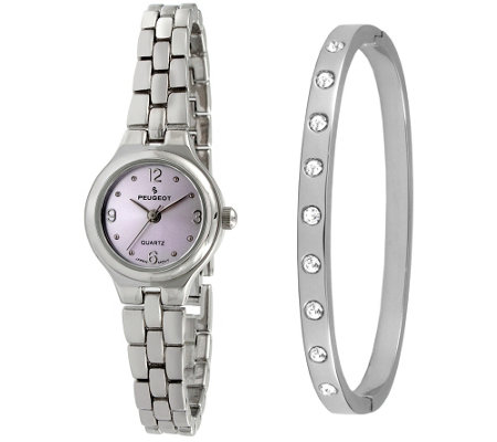 Peugeot Women's Silvertone Bracelet Watch & Bangle Gift Set