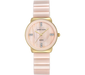 Anne Klein Diamond Accent Light Pink Ceramic Watch - J344731