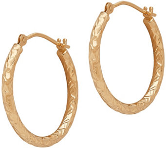 EternaGold Crystal-Cut Round Hoop Earrings, 14KGold - J345531