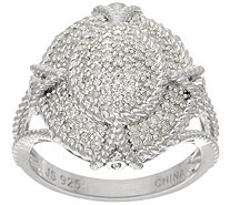 Pave' White Diamond Filigree Ring Sterl, 1/3cttw by Affinity - J345931