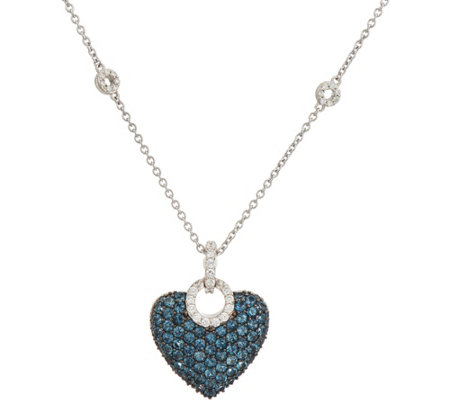 Judith Ripka Sterling London Blue Topaz Pave Heart Enhancer with Chain