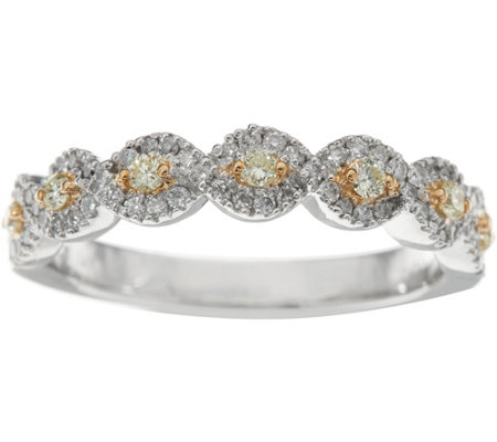 QVC Logo Yellow and White Diamond Band Ring, 14K, 1/3 cttw, ...