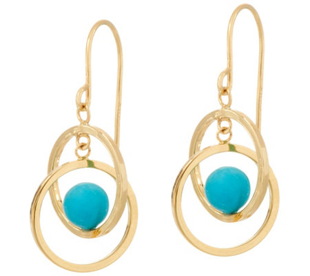 Turquoise Circle Dangle Earrings 14K Gold
