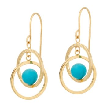 Turquoise Circle Dangle Earrings 14K Gold