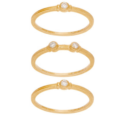 Judith Ripka 14K Set of 3 1/8 cttw Diamond Stack Rings