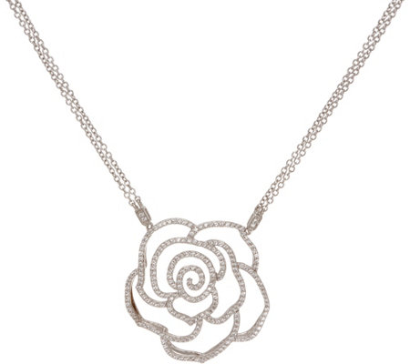 "Diamonique 1.75 cttw Rose 18"" Necklace, Sterling"