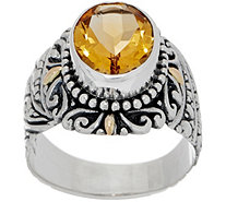 Artisan Crafted Sterling Silver & 18K Gold Oval Gemstone Ring - J355331