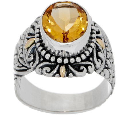 Artisan Crafted Sterling Silver & 18K Gold Oval Gemstone Ring