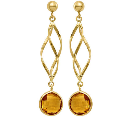 14K Gemstone Spiral Dangle Post Earrings