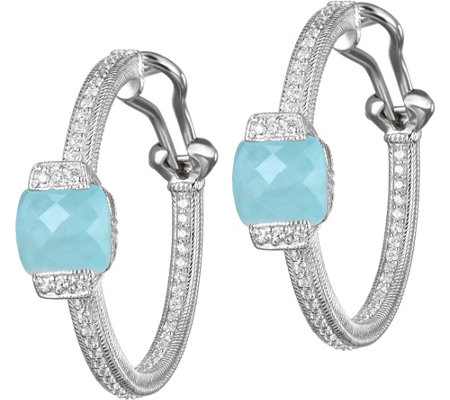 Judith Ripka Sterling Milky Aquamarine Hoop Earrings