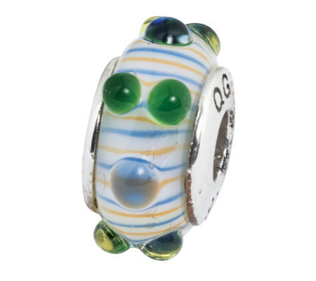 Prerogatives Sterling Blue/Green/Orange Glass Striped Bead