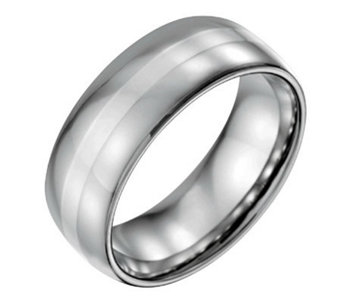 Forza Men's 8mm Steel w/ Sterling Silver InlayPolished Ring - J109532