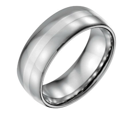 Forza Men's 8mm Steel w/ Sterling Silver InlayPolished Ring