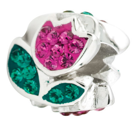 Prerogatives Sterling Fuchsia Crystal Tulip Flower Bead