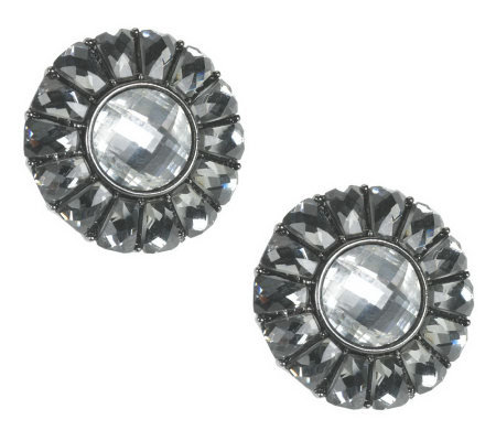 Joan Rivers Signature Baguette Button Earrings