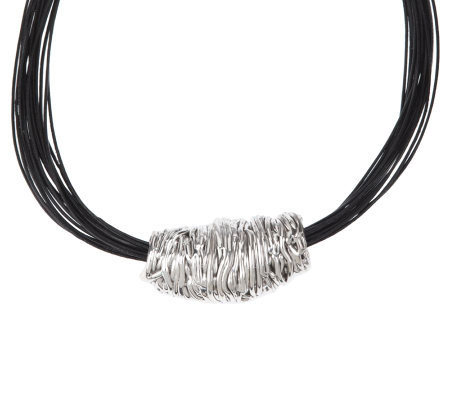 "Or Paz Sterling Slide Pendant with 18"" Black Multi-Strand Cord Necklace"