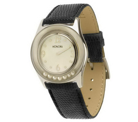Honora Cultured Pearl Leather Strap Watch w/ Mother-of-Pearl Dial