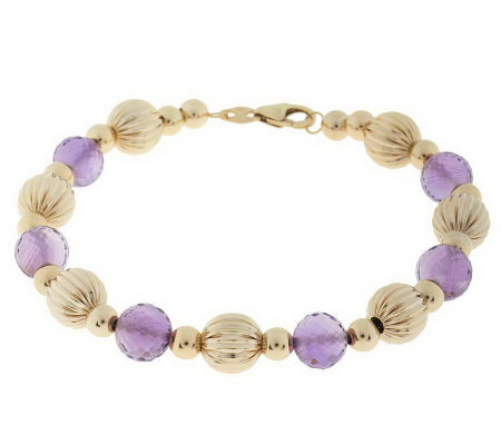 "EternaGold 8"" Gemstone and Bead Bracelet 14K Gold"