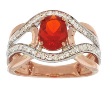 Premier 0.70 ct Red Fire Opal & 1/3cttw Diamond Ring, 14K Gold - J282232