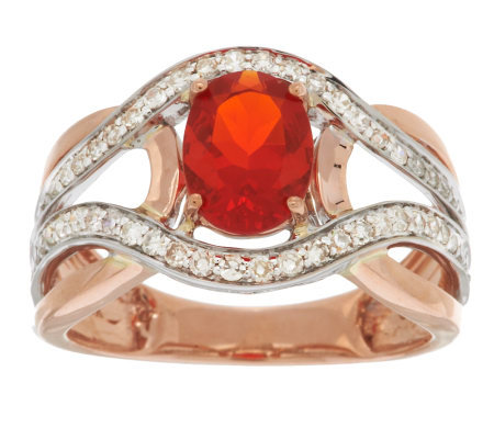 Premier 0.70 ct Red Fire Opal & 1/3cttw Diamond Ring, 14K Gold