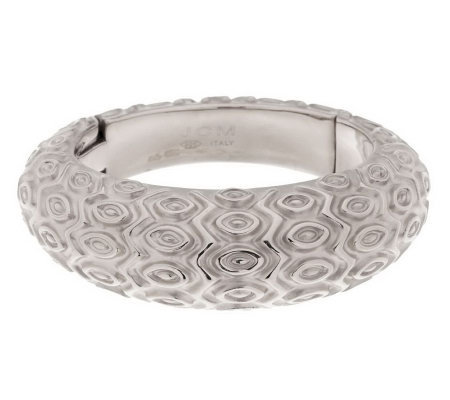 Vicenza Silver Sterling Bold Large Marquise Pattern Domed Hinged Bangle