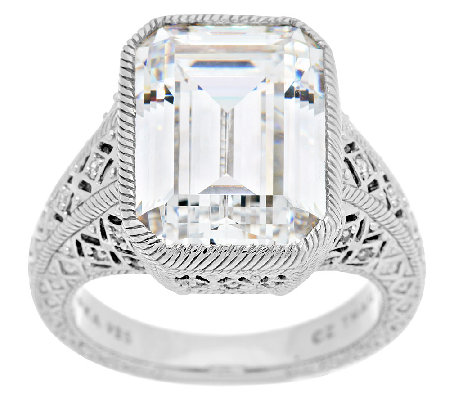 Judith Ripka Sterling 13.25 ct tw Diamonique Estate Ring