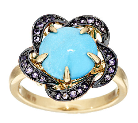 Sleeping Beauty Turquoise & Amethyst Floral Design Ring, 14K Gold