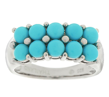 Sleeping Beauty Turquoise Cluster Design Sterling Ring