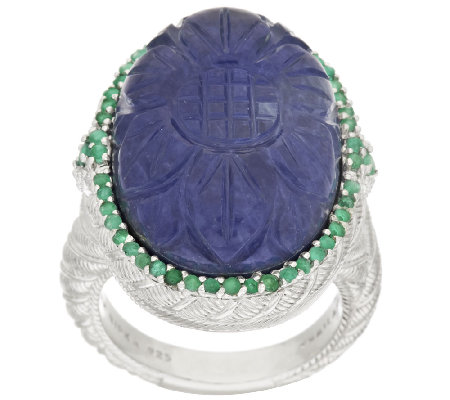 Judith Ripka Carved Sapphire Doublet & Pave 0.40 ct Emerald Statement Ring