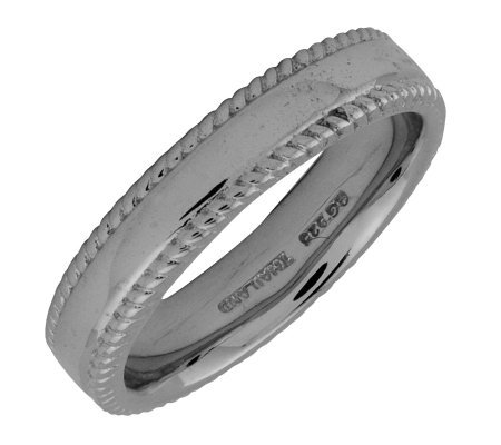 Simply Stacks Sterling Black Rhodium-Plated 4.25mm Ribbed Ring