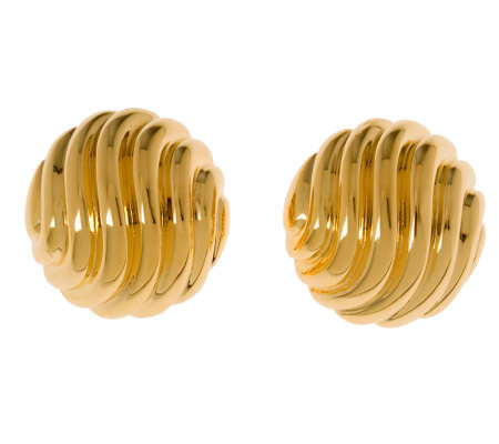 Veronese 18K Clad Wavy Ribbed Button Earrings