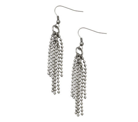 Stainless Steel Multi-Strand Ball Chain DangleEarrings