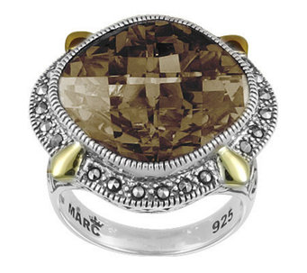 Suspicion Sterling Marcasite & Smoky Quartz Ring - J308532