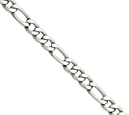 "Stainless Steel 5.3mm 18"" Figaro Chain Necklace"