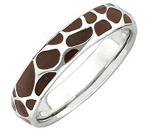 Simply Stacks Sterling Brown Epoxy Enamel Animal Print Ring - J308932
