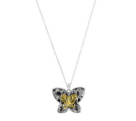 "Sterling Two-Tone Butterfly Pendant with 18"" Chain"