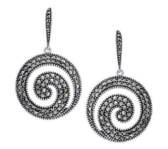 Suspicion Sterling Marcasite Round Earrings - J311532