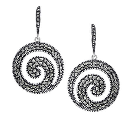 Suspicion Sterling Marcasite Round Earrings
