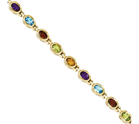 "8.10ct tw 7"" Multi-gemstone Bracelet, 14K Gold"