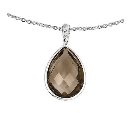 "9.25ct tw Smoky Quartz Sterling Drop Pendant w/18"" Chain"