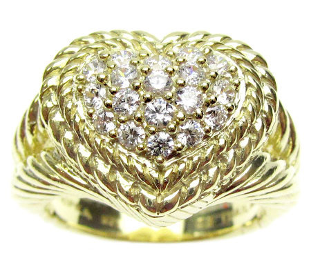 Judith Ripka Diamonique Pave Heart Ring, 14K Clad Sterling
