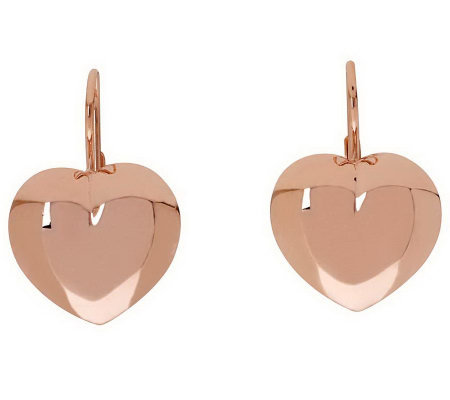 Bronzo Italia Heart-Shaped Lever Back Earrings