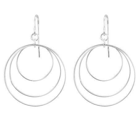Sterling Open Multi-Circle Dangle Earrings