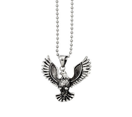 "Forza Men's Stainless Steel Eagle Pendant w/ 22"" Chain"