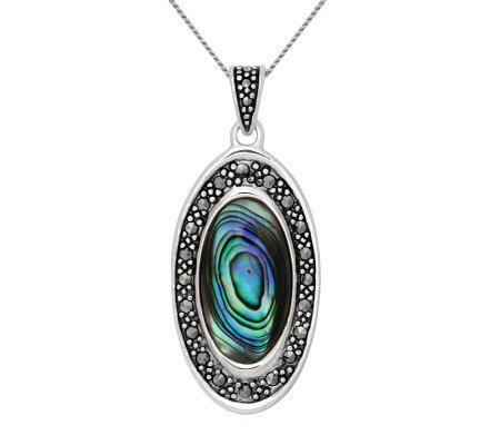 Sterling Marcasite and Abalone Oval Pendant w/Chain