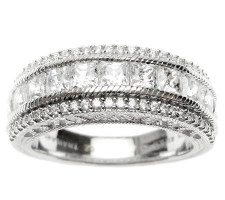 Judith Ripka Sterling Diamonique Round & Princess Band Ring