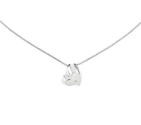 "Sterling 18"" Satin Heart Diamond Accent Necklace"